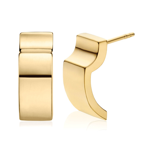 Gold Vermeil Signature Wide Earrings - Monica Vinader