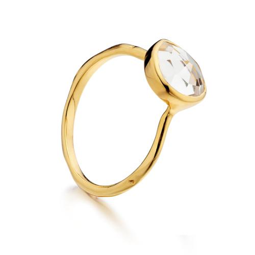 Gold Vermeil Siren Stacking Ring - White Topaz - Monica Vinader