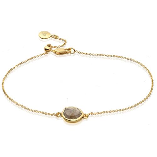 Gold Vermeil Siren Fine Chain Bracelet - Labradorite - Monica Vinader