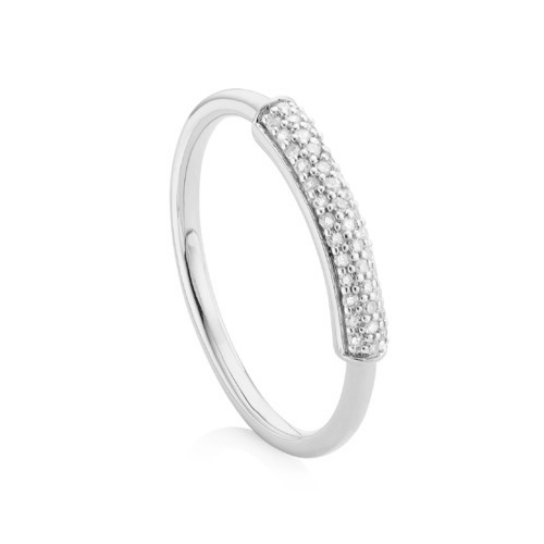 Sterling Silver Fiji Bar Stacking Ring - Diamond - Monica Vinader