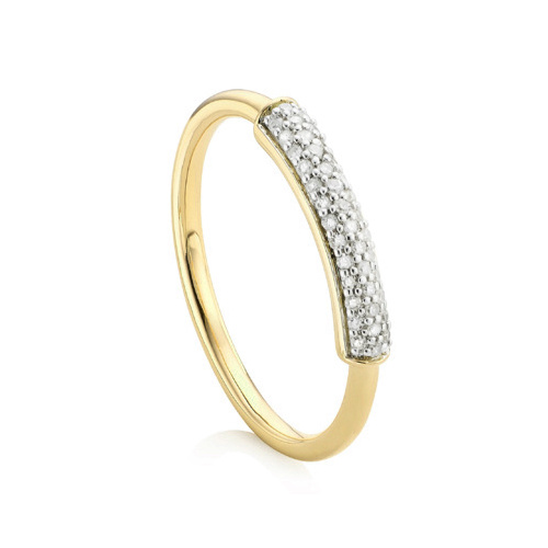 Gold Vermeil Fiji Bar Stacking Ring - Diamond - Monica Vinader