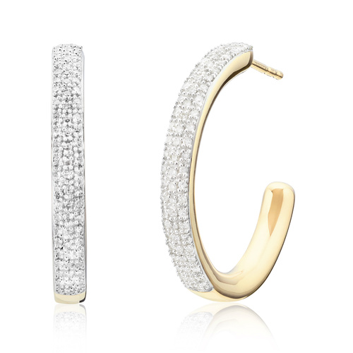 Gold Vermeil Fiji Large Hoop Diamond Earrings - Diamond - Monica Vinader