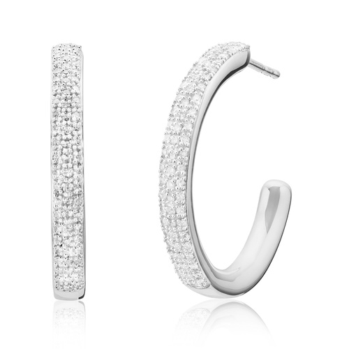Sterling Silver Fiji Large Hoop Diamond Earrings - Diamond - Monica Vinader