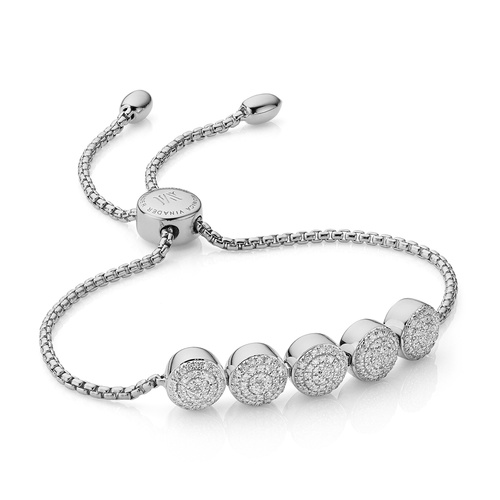 Sterling Silver Fiji Button Friendship Chain Bracelet - Diamond - Monica Vinader