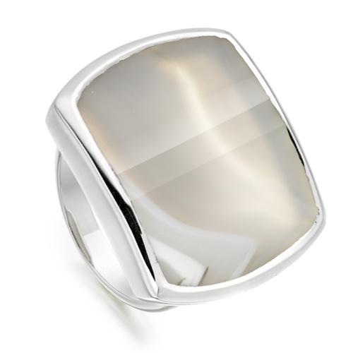 Baja Square Ring - Grey Agate - Monica Vinader