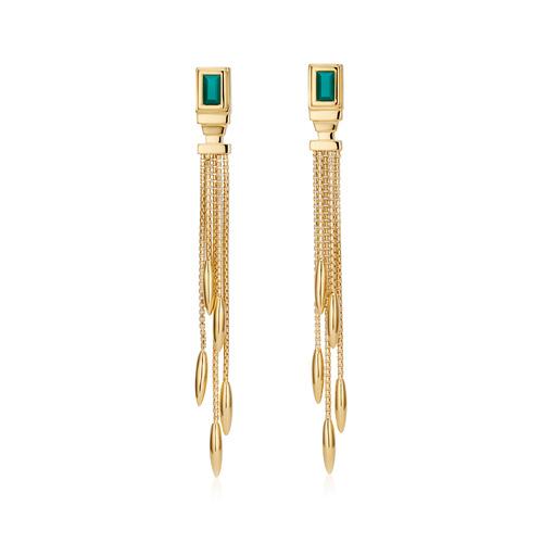 Gold Vermeil Baja Deco Thin Cocktail Earrings - Green Onyx - Monica Vinader