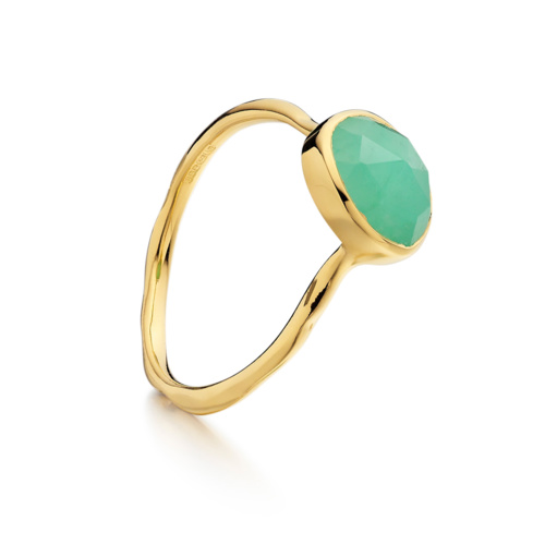 Gold Vermeil Siren Stacking Ring - Chrysoprase - Monica Vinader