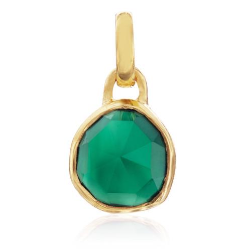 Gold Vermeil Siren Mini Bezel Pendant Charm - Green Onyx - Monica Vinader