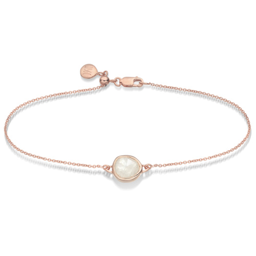 Rose Gold Vermeil Siren Fine Chain Bracelet - Moonstone - Monica Vinader