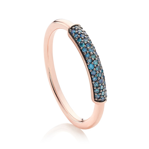 Rose Gold Vermeil Fiji Bar Stacking Ring - Blue Diamond - Monica Vinader