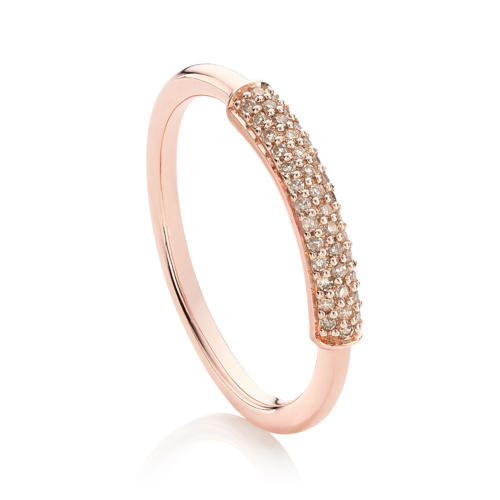 Rose Gold Vermeil Fiji Bar Stacking Ring - Champagne Diamond - Monica Vinader