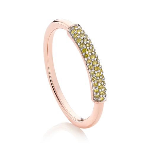 Rose Gold Vermeil Fiji Bar Stacking Ring - Yellow Diamond - Monica Vinader