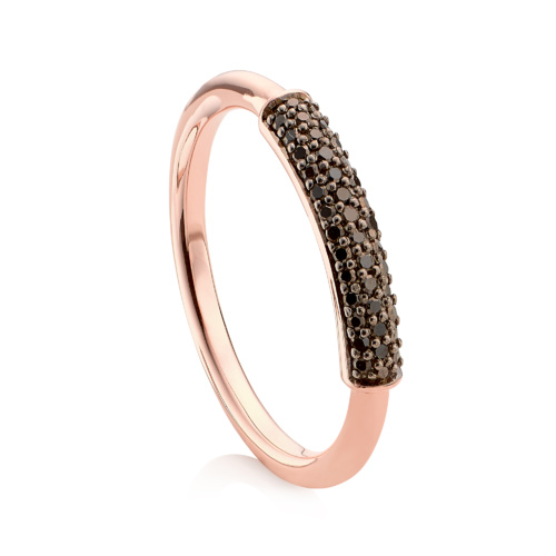 Rose Gold Vermeil Fiji Bar Stacking Ring - Black Diamond - Monica Vinader