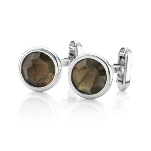 Gem Circle Cufflinks - Labradorite