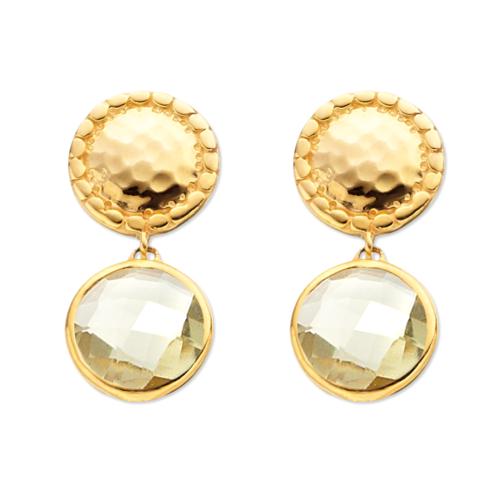 Gold Vermeil Mini Luna Stud Earring - Green Gold Quartz - Monica Vinader