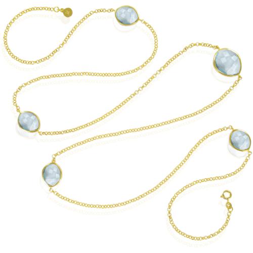 Gold Vermeil Nugget Long Necklace - Swiss Blue Quartz - Monica Vinader
