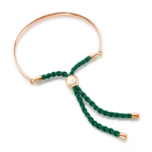 Rose Gold Vermeil Fiji Friendship Bracelet - Racing Green
