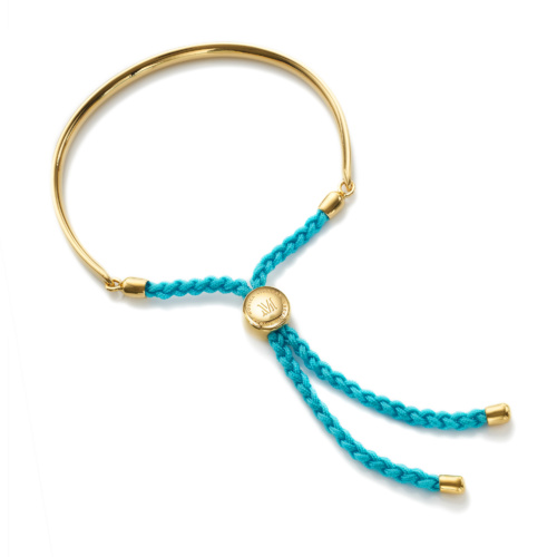 Fiji Friendship Bracelet - Black, Gold Vermeil on Silver Monica Vinader