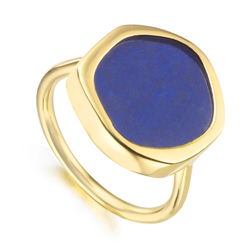 Gold Vermeil Atlantis Gem Ring - Lapis - Monica Vinader