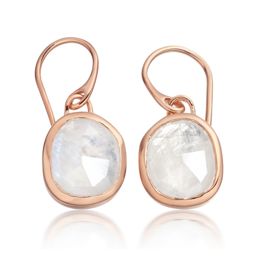 Rose Gold Vermeil Siren Wire Earrings - Moonstone - Monica Vinader