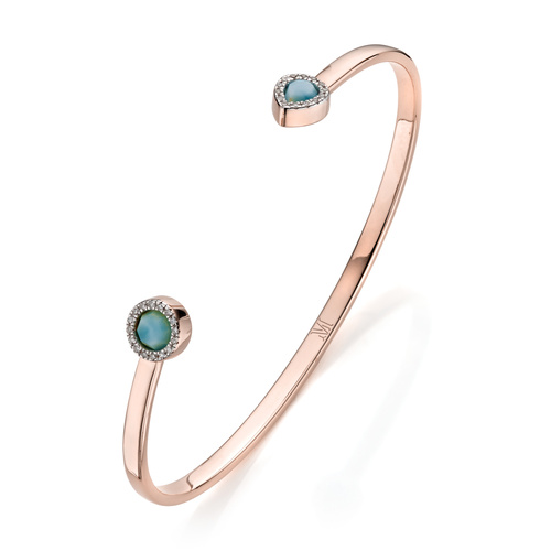Rose Gold Vermeil Naida Thin Cuff - Medium - Larimar - Monica Vinader