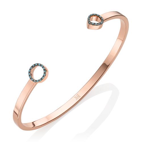 Rose Gold Vermeil Naida Thin Open Cuff - Medium - Blue Diamond - Monica Vinader