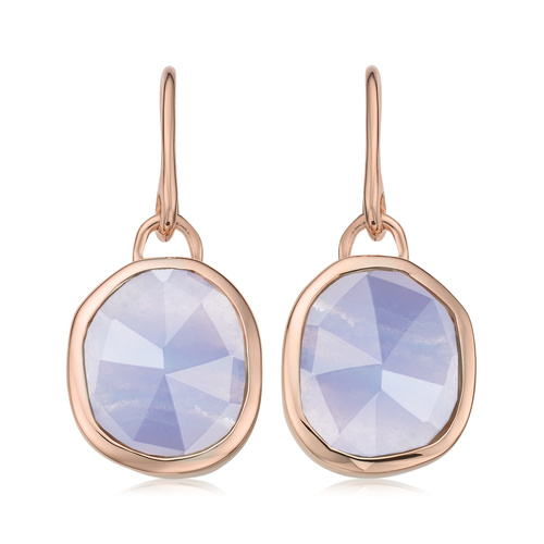 Rose Gold Vermeil Siren Wire Earrings - Blue Lace Agate - Monica Vinader