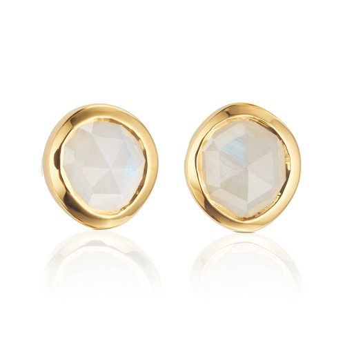 Gold Vermeil Siren Mini Stud Earrings - Moonstone - Monica Vinader