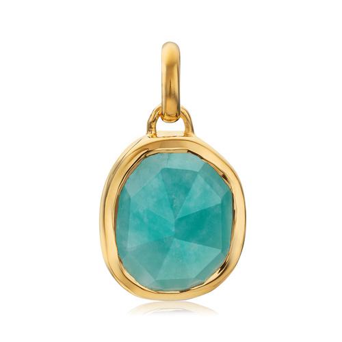 Gold Vermeil Siren Medium Bezel Pendant - Amazonite - Monica Vinader