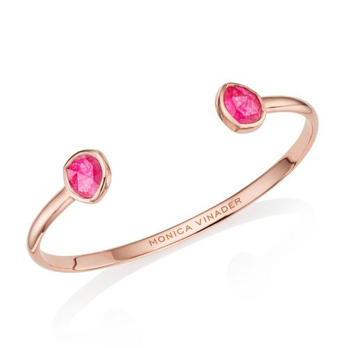 Rose Gold Vermeil Siren Thin Cuff - Pink Quartz - Monica Vinader