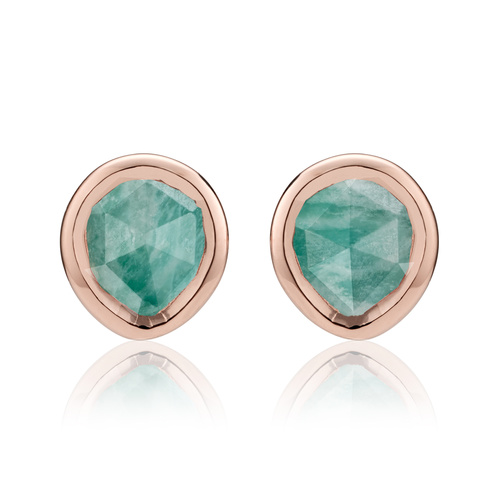Rose Gold Vermeil Siren Mini Stud Earrings - Amazonite - Monica Vinader