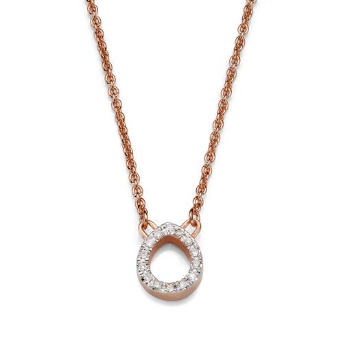 Rose Gold Vermeil Naida Mini Teardrop Necklace - Diamond - Monica Vinader