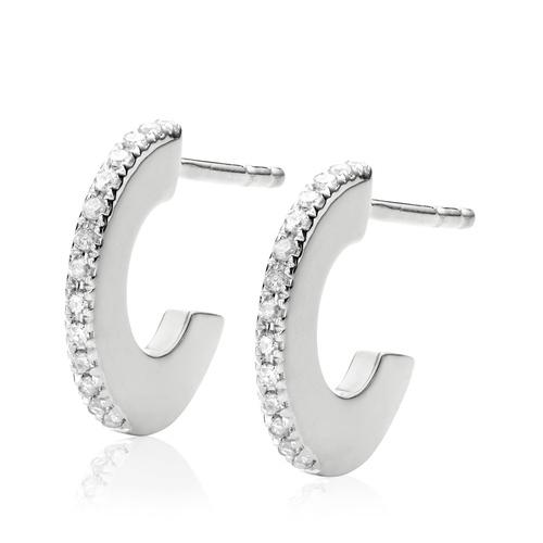Sterling Silver Naida Small Hoop Earrings - Diamond - Monica Vinader