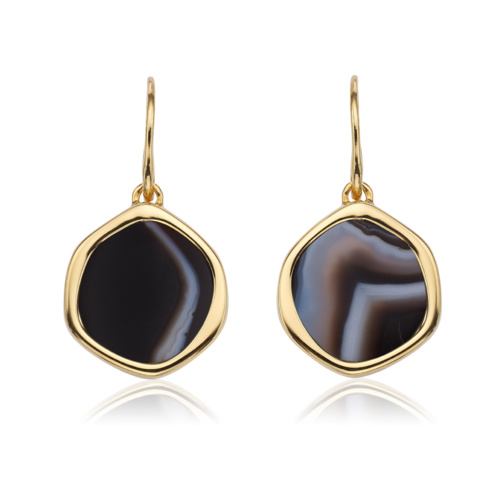 Gold Vermeil Atlantis Gem Earrings - Line Onyx