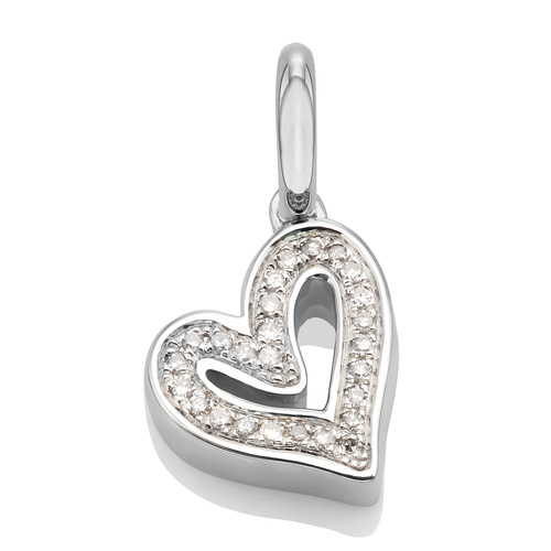 Sterling Silver Alphabet Heart Diamond Pendant Charm - Diamond - Monica Vinader