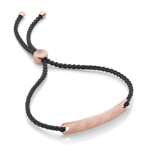 Rose Gold Vermeil Havana Mini Friendship Bracelet - Black - Monica Vinader