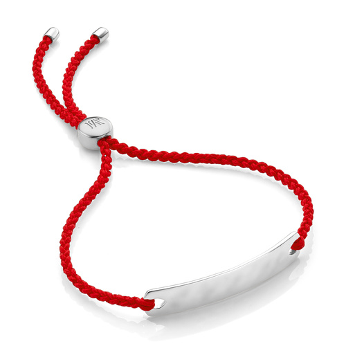 Sterling Silver Havana Mini Friendship Bracelet - Coral - Monica Vinader