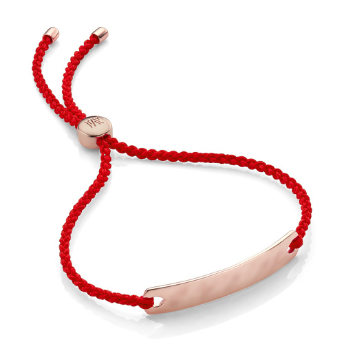 Rose Gold Vermeil Havana Mini Friendship Bracelet - Coral - Monica Vinader