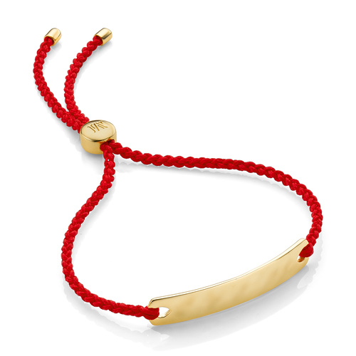 Gold Vermeil Havana Mini Friendship Bracelet - Coral - Monica Vinader