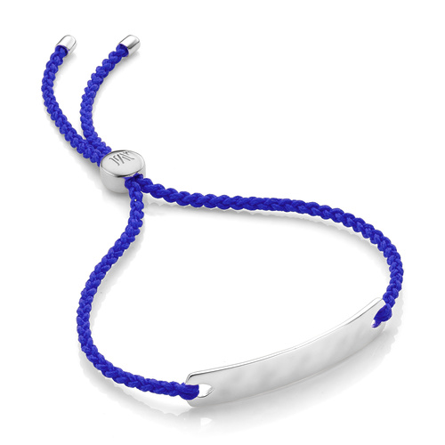Sterling Silver Havana Mini Friendship Bracelet - Majorelle Blue - Monica Vinader