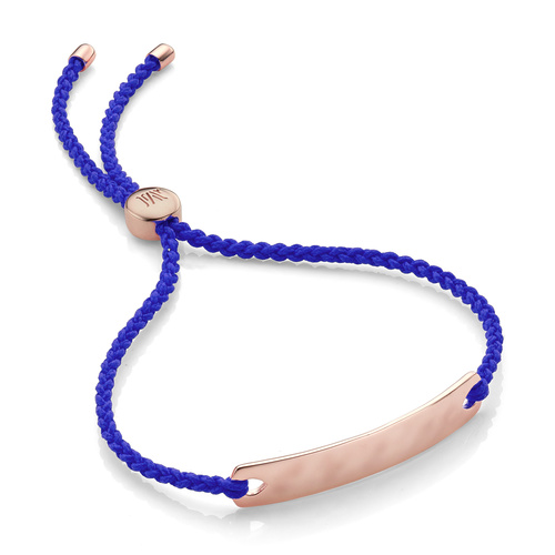 Rose Gold Vermeil Havana Mini Friendship Bracelet - Majorelle Blue - Monica Vinader