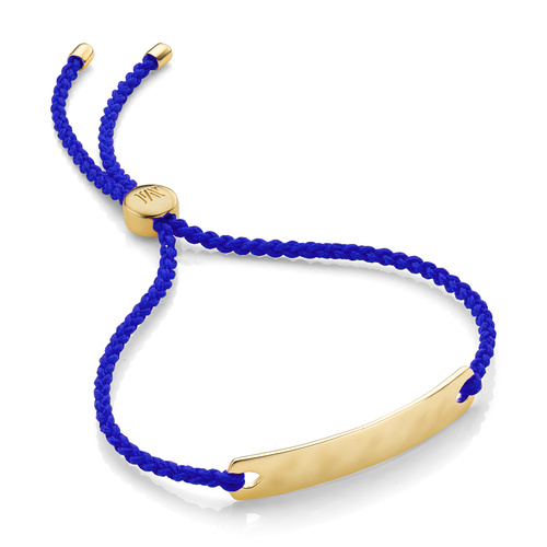 Gold Vermeil Havana Mini Friendship Bracelet - Majorelle Blue - Monica Vinader