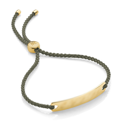 Gold Vermeil Havana Mini Friendship Bracelet - Khaki - Monica Vinader