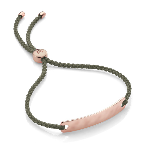 Rose Gold Vermeil Havana Mini Friendship Bracelet - Khaki - Monica Vinader