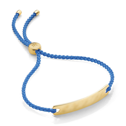 Gold Vermeil Havana Mini Friendship Bracelet - Powder Blue - Monica Vinader
