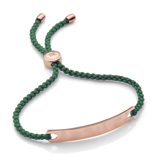 Rose Gold Vermeil Havana Friendship Bracelet - Khaki Green - Monica Vinader