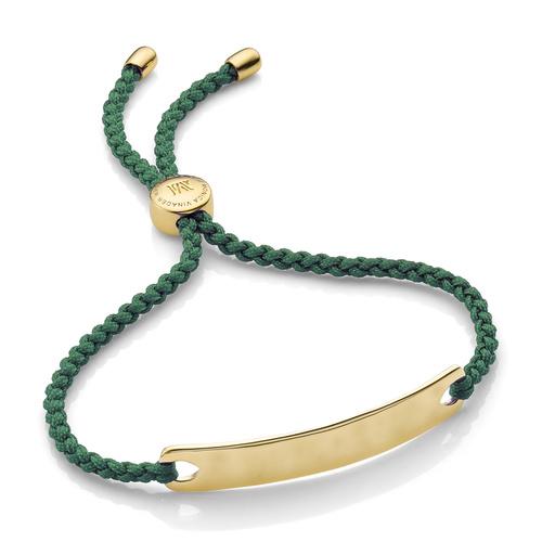 Gold Vermeil Havana Friendship Bracelet - Khaki Green - Monica Vinader