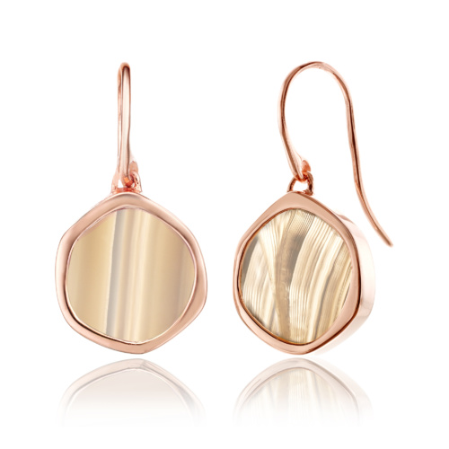 Rose Gold Vermeil Atlantis Gem Earrings - Grey Agate - Monica Vinader