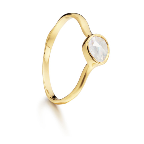 Gold Vermeil Siren Small Stacking Ring - Moonstone - Monica Vinader