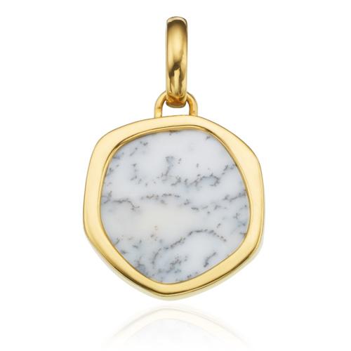 Gold Vermeil Atlantis Gem Pendant - Dendritic Agate - Monica Vinader
